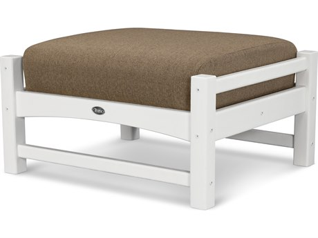 Trex® Outdoor Furniture Rockport Club Ottoman in Classic White / Sesame TRXTXO23CW8318