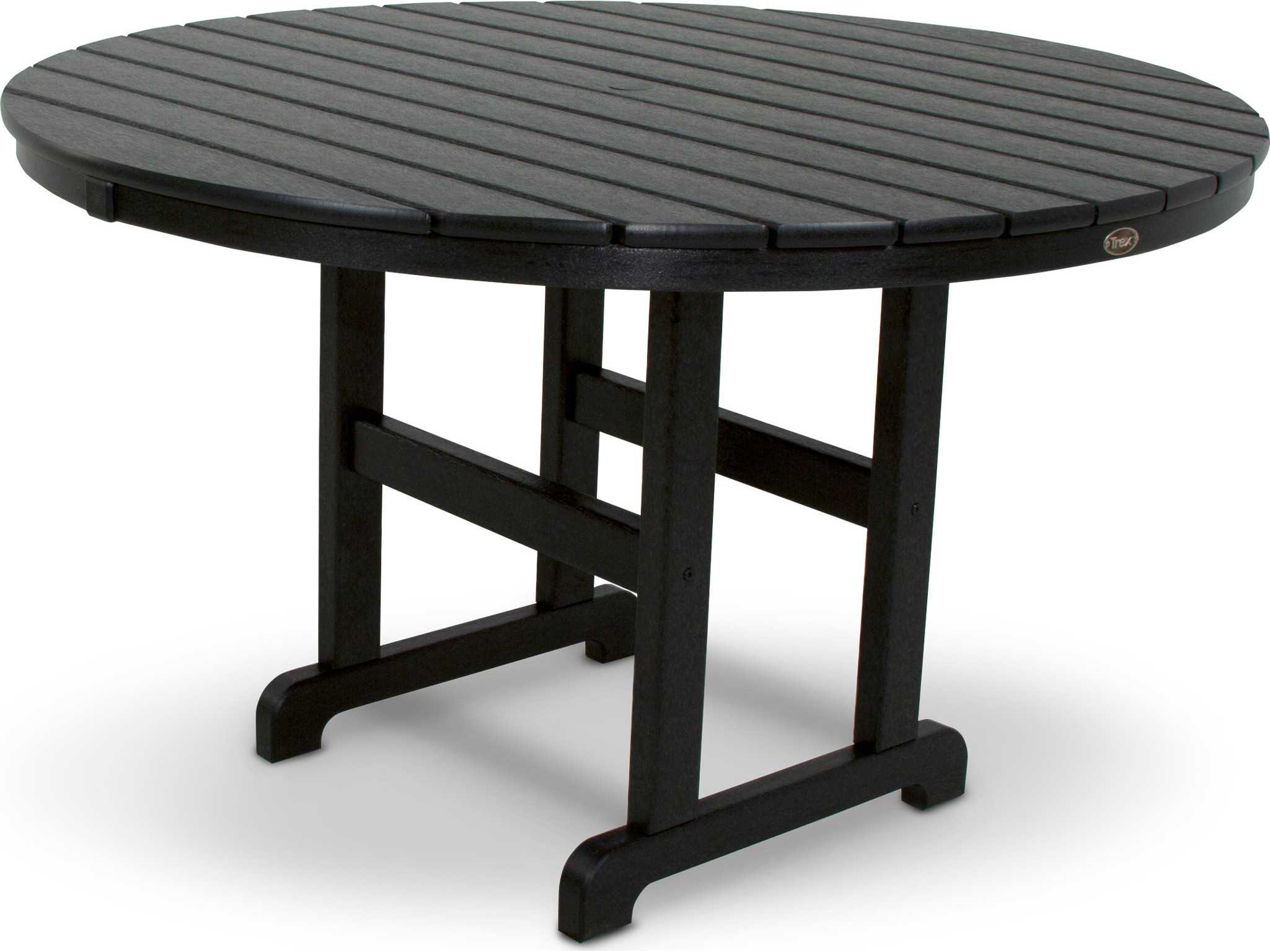 Trex monterey bay recycled plastic 48 round dining table for Pvc patio table