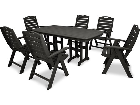 Trex® Outdoor Furniture Yacht Club 7-Piece Highback Dining Set in Charcoal Black TRXTXS1031CB
