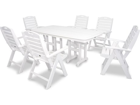 Trex® Outdoor Furniture Yacht Club 7-Piece Highback Dining Set in Classic White