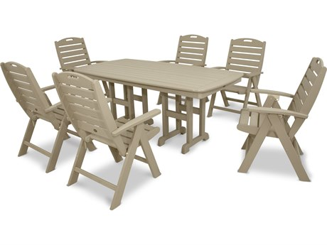 Trex® Outdoor Furniture Yacht Club 7-Piece Highback Dining Set in Sand Castle