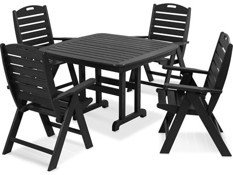 Trex® Outdoor Furniture Yacht Club Highback 5-Piece Dining Set in Charcoal Black TRXTXS1041CB