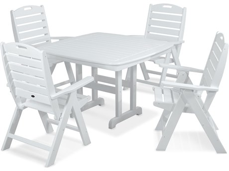 Trex® Outdoor Furniture Yacht Club Highback 5-Piece Dining Set in Classic White