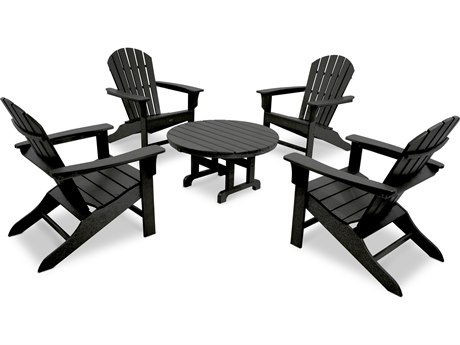 Trex® Outdoor Furniture Cape Cod Shellback 5-Piece Adirondack Conversation Group in Charcoal Black