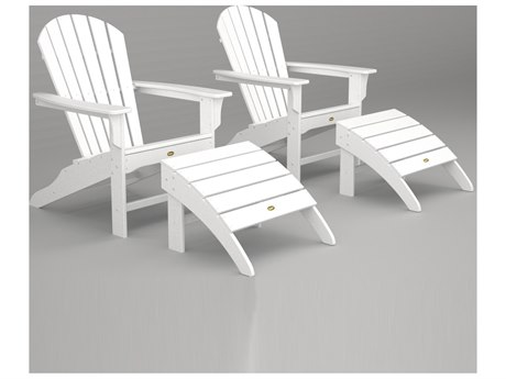 Trex® Outdoor Furniture Cape Cod Shellback Adirondack Set with Ottomans in Classic White