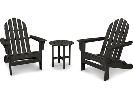 Trex® Outdoor Furniture Cape Cod Folding Adirondack Set with Side Table in Charcoal Black