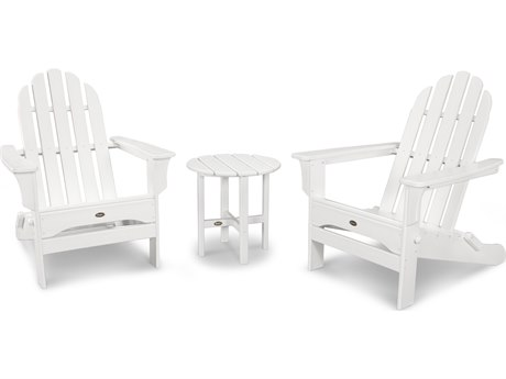 Trex® Outdoor Furniture Cape Cod Folding Adirondack Set with Side Table in Classic White