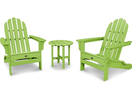 Trex® Outdoor Furniture Cape Cod Folding Adirondack Set with Side Table in Lime