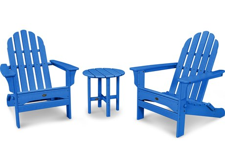 Trex® Outdoor Furniture Cape Cod Folding Adirondack Set with Side Table in Pacific Blue