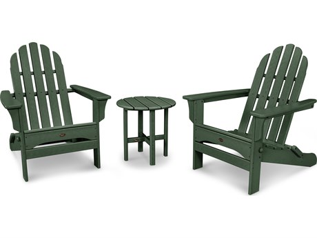 Trex® Outdoor Furniture Cape Cod Folding Adirondack Set with Side Table in Rainforest Canopy