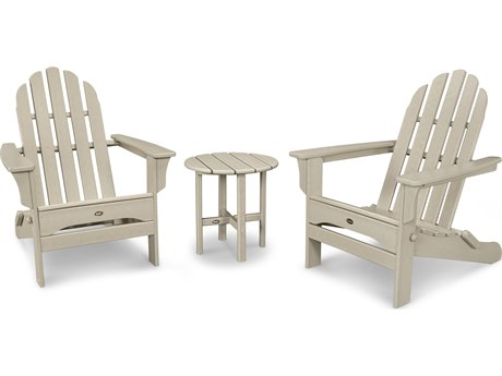 Trex® Outdoor Furniture Cape Cod Folding Adirondack Set with Side Table in Sand Castle