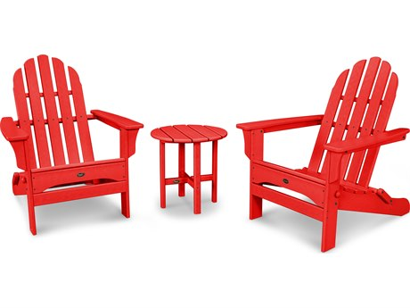 Trex® Outdoor Furniture Cape Cod Folding Adirondack Set with Side Table in Sunset Red