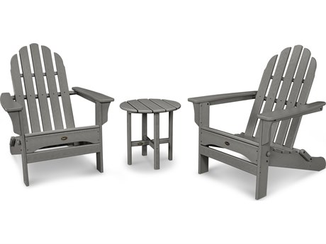 Trex® Outdoor Furniture Cape Cod Folding Adirondack Set with Side Table in Stepping Stone