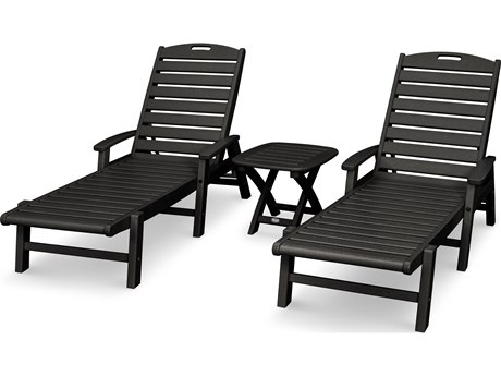 Trex® Outdoor Furniture Yacht Club 3-Piece Chaise Set in Charcoal Black