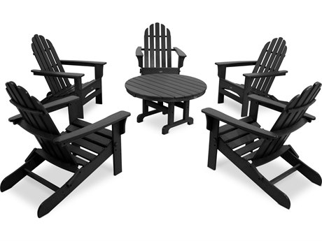 Trex® Outdoor Furniture Cape Cod 6-Piece Folding Adirondack Conversation Set in Charcoal Black