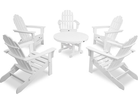 Trex® Outdoor Furniture Cape Cod 6-Piece Folding Adirondack Conversation Set in Classic White