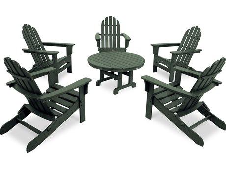 Trex® Outdoor Furniture Cape Cod 6-Piece Folding Adirondack Conversation Set in Rainforest Canopy