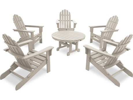 Trex® Outdoor Furniture Cape Cod 6-Piece Folding Adirondack Conversation Set in Sand Castle