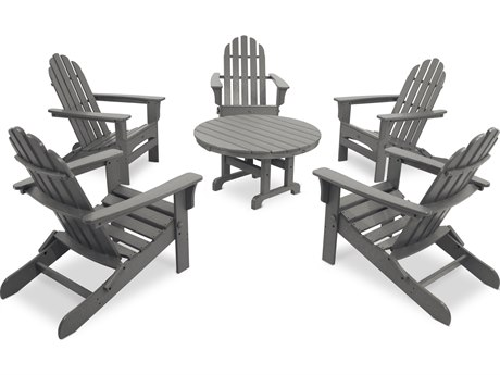 Trex® Outdoor Furniture Cape Cod 6-Piece Folding Adirondack Conversation Set in Stepping Stone
