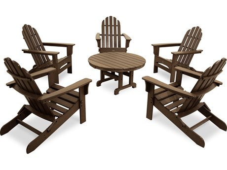 Trex® Outdoor Furniture Cape Cod 6-Piece Folding Adirondack Conversation Set in Tree House