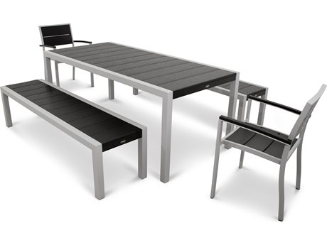 Trex® Outdoor Furniture Surf City 5-Piece Bench Dining Set in Textured Silver TRXTXS122111CB