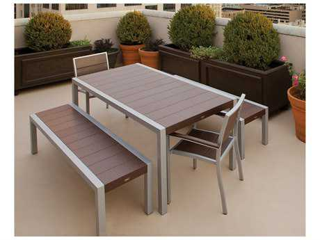 Trex® Surf City Recycled Plastic 5-Piece Bench Dining Set TRXTXS1221