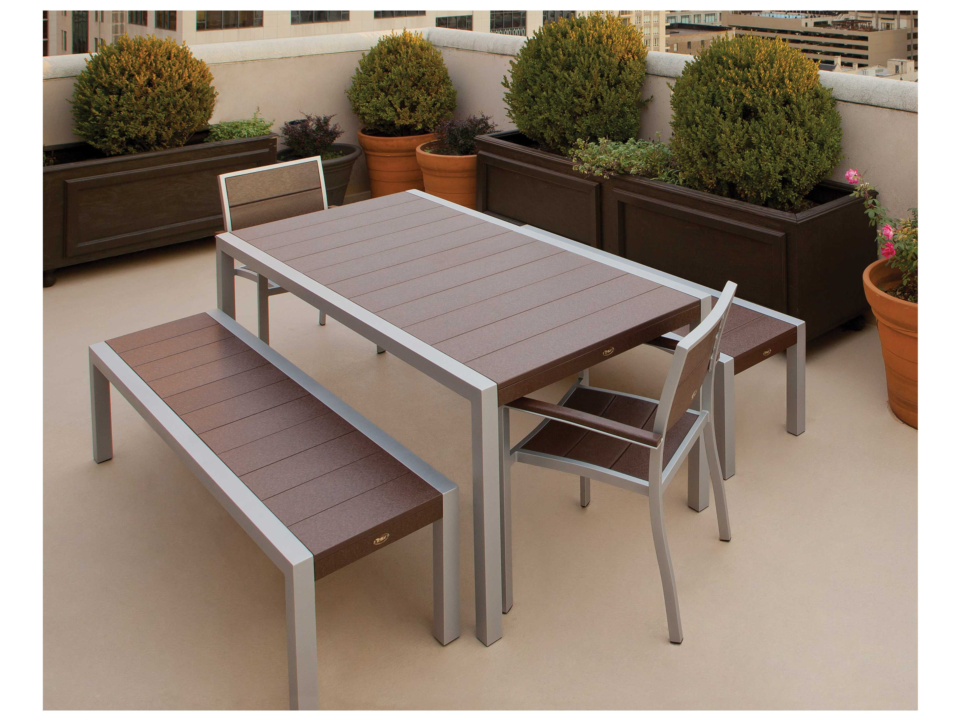 Trex Surf City Recycled Plastic 5 Piece Bench Dining Set