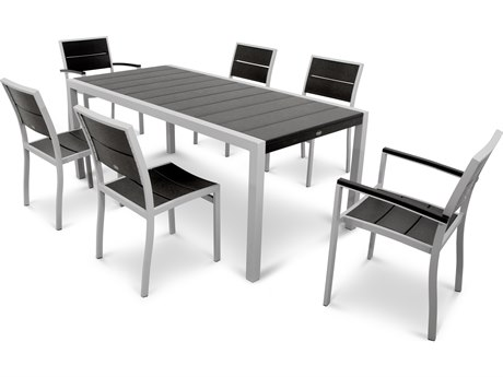 Trex® Outdoor Furniture Surf City 7-Piece Dining Set in Textured Silver TRXTXS123111CB