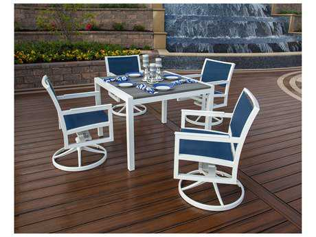 Trex® Parsons Recycled Plastic 5-Piece Swivel Rocker Dining Set