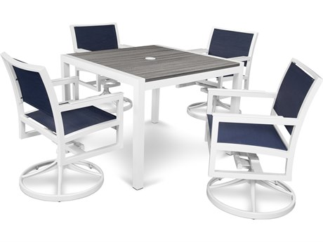 Trex® Outdoor Furniture Parsons 5-Piece Swivel Rocker Dining Set in Satin White / Sapphire TRXTXS128113TIS917