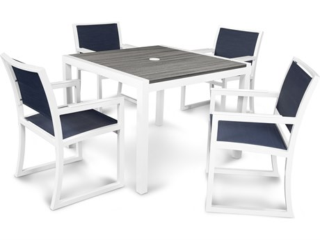 Trex® Outdoor Furniture Parsons 5-Piece Dining Set in Satin White / Sapphire TRXTXS129113TIS917