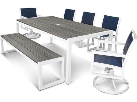 Trex® Outdoor Furniture Parsons 7-Piece Bench Dining Set in Satin White / Sapphire TRXTXS130113TIS917