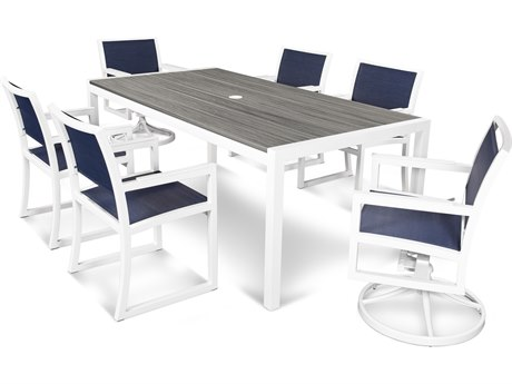Trex® Outdoor Furniture Parsons 7-Piece Dining Set in Satin White / Sapphire TRXTXS131113TIS917