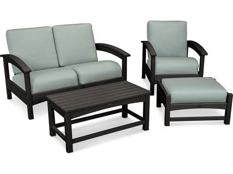 Trex® Outdoor Furniture Rockport 4-Piece Deep Seating Conversation Group in Charcoal Black / Spa TRXTXS1352CB5413