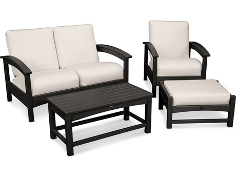 Trex® Outdoor Furniture Rockport 4-Piece Deep Seating Conversation Group in Charcoal Black / Bird's Eye TRXTXS1352CB5472