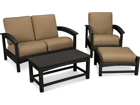 Trex® Outdoor Furniture Rockport 4-Piece Deep Seating Conversation Group in Charcoal Black / Sesame TRXTXS1352CB8318