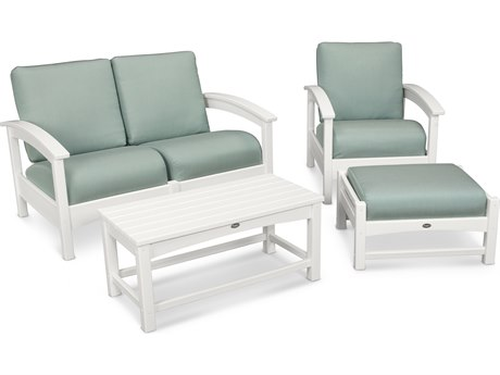 Trex® Outdoor Furniture Rockport 4-Piece Deep Seating Conversation Group in Classic White / Spa TRXTXS1352CW5413