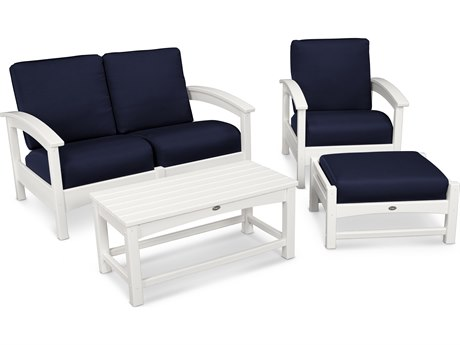 Trex® Outdoor Furniture Rockport 4-Piece Deep Seating Conversation Group in Classic White / Navy TRXTXS1352CW5439
