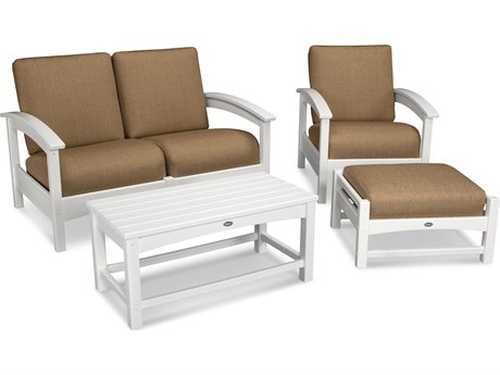 Trex® Outdoor Furniture Rockport 4-Piece Deep Seating Conversation Group in Classic White / Sesame TRXTXS1352CW8318