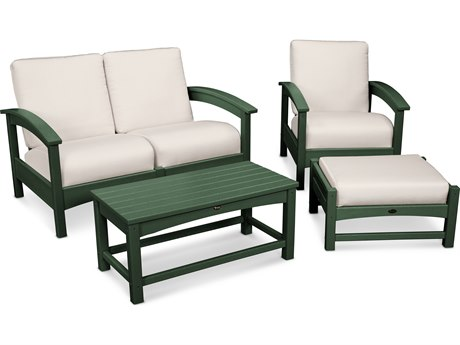 Trex® Outdoor Furniture Rockport 4-Piece Deep Seating Conversation Group in Rainforest Canopy / Bird's Eye TRXTXS1352RC5472