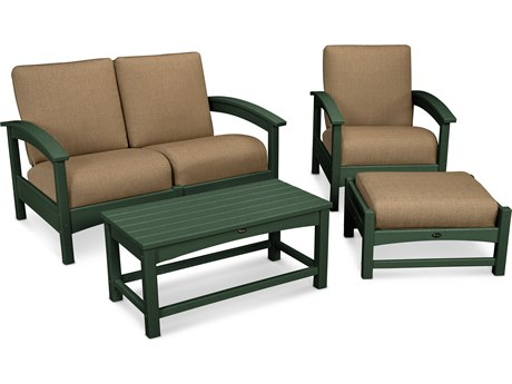Trex® Outdoor Furniture Rockport 4-Piece Deep Seating Conversation Group in Rainforest Canopy / Sesame TRXTXS1352RC8318