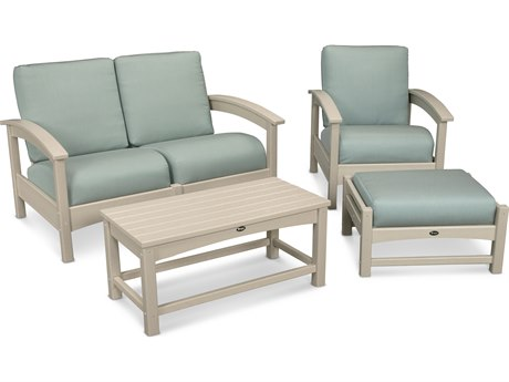 Trex® Outdoor Furniture Rockport 4-Piece Deep Seating Conversation Group in Sand Castle / Spa TRXTXS1352SC5413