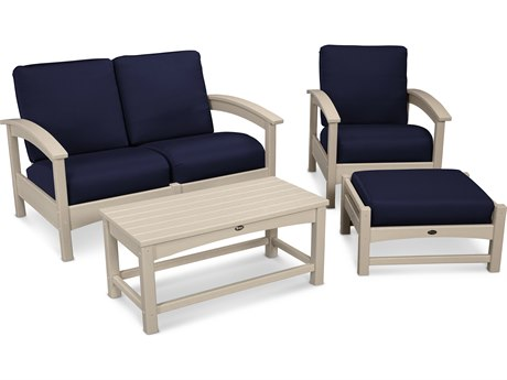 Trex® Outdoor Furniture Rockport 4-Piece Deep Seating Conversation Group in Sand Castle / Navy TRXTXS1352SC5439