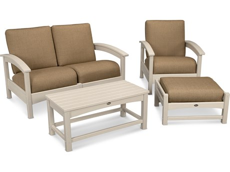 Trex® Outdoor Furniture Rockport 4-Piece Deep Seating Conversation Group in Sand Castle / Sesame TRXTXS1352SC8318