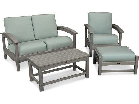 Trex® Outdoor Furniture Rockport 4-Piece Deep Seating Conversation Group in Stepping Stone / Spa TRXTXS1352SS5413