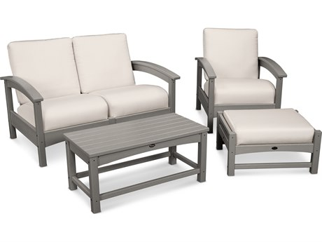 Trex® Outdoor Furniture Rockport 4-Piece Deep Seating Conversation Group in Stepping Stone / Bird's Eye TRXTXS1352SS5472