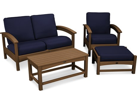 Trex® Outdoor Furniture Rockport 4-Piece Deep Seating Conversation Group in Tree House / Navy TRXTXS1352TH5439