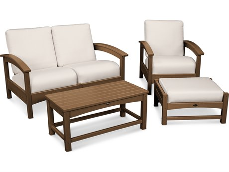 Trex® Outdoor Furniture Rockport 4-Piece Deep Seating Conversation Group in Tree House / Bird's Eye TRXTXS1352TH5472