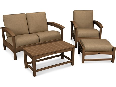 Trex® Outdoor Furniture Rockport 4-Piece Deep Seating Conversation Group in Tree House / Sesame TRXTXS1352TH8318