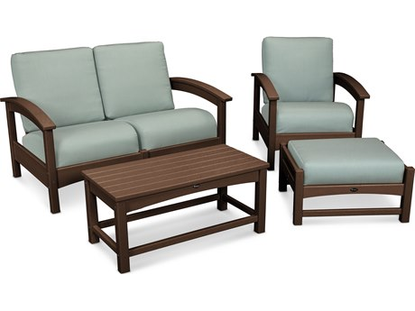 Trex® Outdoor Furniture Rockport 4-Piece Deep Seating Conversation Group in Vintage Lantern / Spa TRXTXS1352VL5413